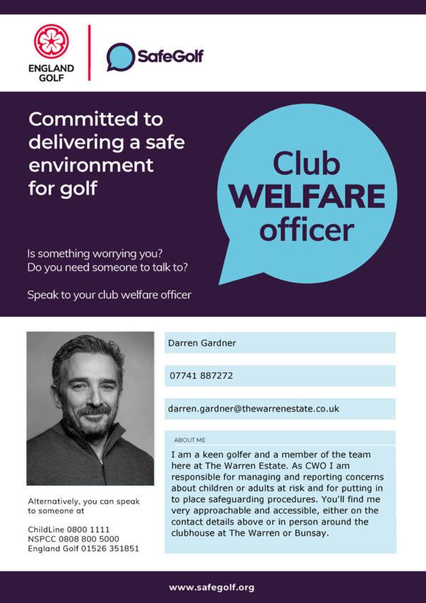 GolfSafe Club Welfare Officer