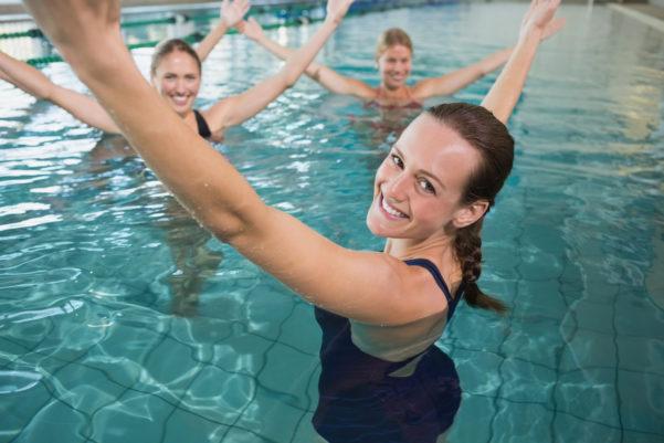 Zumba class in swimming pool