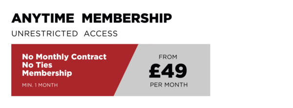 Anytime membership prices from £49 per month