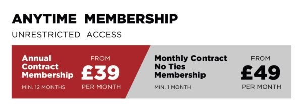 Anytime membership prices from £39 per month