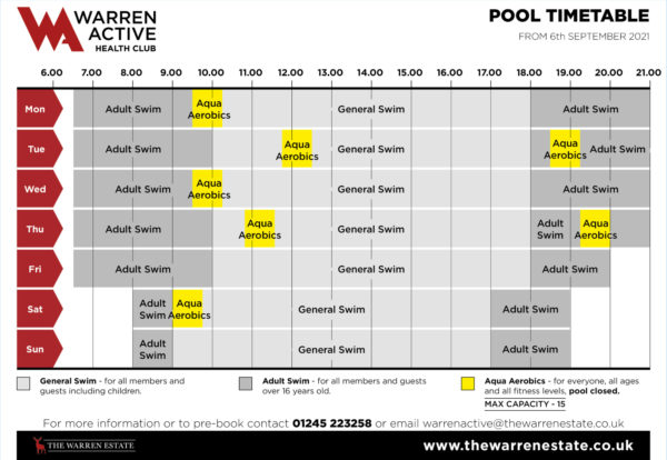 This pool timetable will take affect from 6th September 2021
