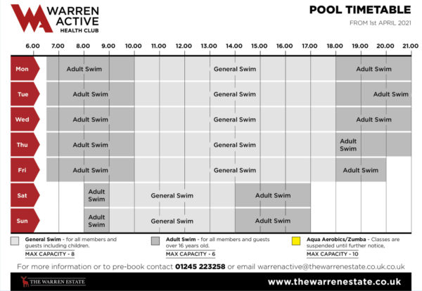This pool timetable will take affect from 1st April 2021