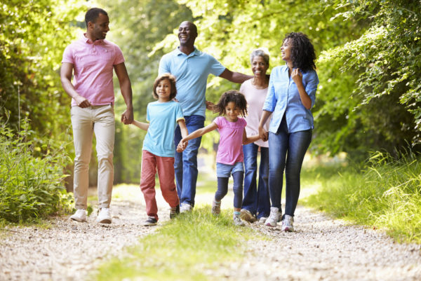 Family on a country walk