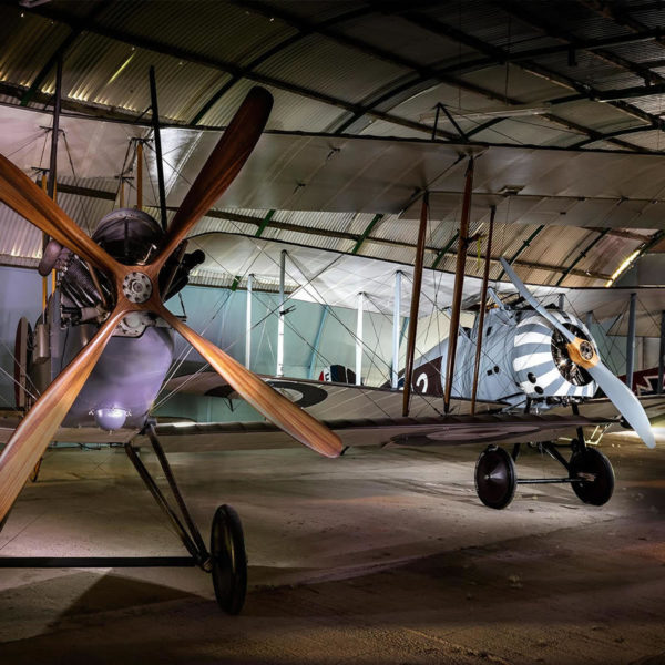 Aeroplanes in hangar 1 at Stow Maries