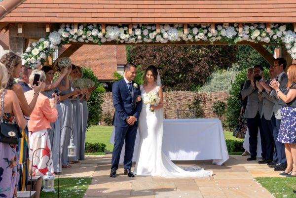 Bride & Groom exchange vows in The Oak Pavilion