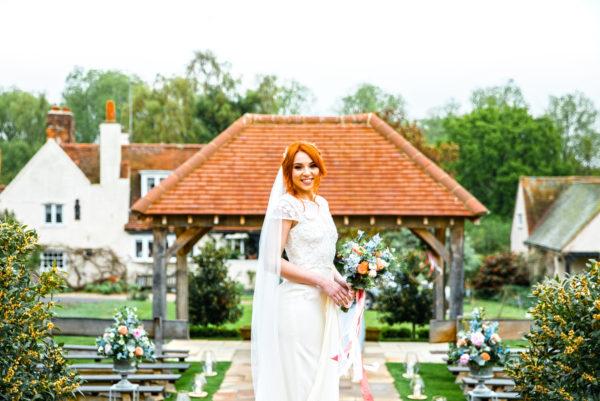 Bride in front of the Oak Pavilion